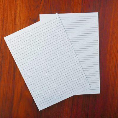 Underlagsark til brevpapir eller notesbog